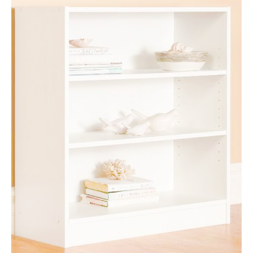 EFD 3 Tier Wooden Shelf Storage Sleek Adjustable White Modern Horizontal Low Wide Storage and Display Decorative Utility Living Room Office Kid's Room Bedroom Bookcase eBook by Easy&FunDeals