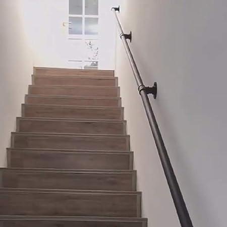 Pasamanos For Escaleras, Agua Industrial De Tuberías Barandilla De La Escalera 1 Pie-20 Pies, Hierro Forjado Retro Negro Barandilla, contra La Pared Interior del Carril De Ancianos Loft: Amazon.es: Hogar