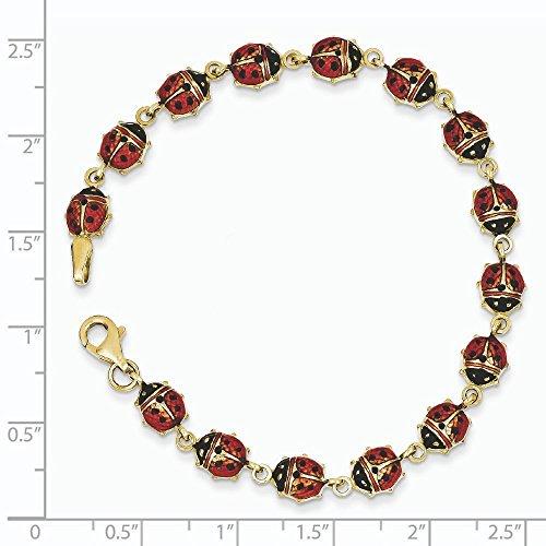 14 carats-Résine-Bracelet-Coccinelle émail - 7 mm-Fermoir mousqueton JewelryWeb