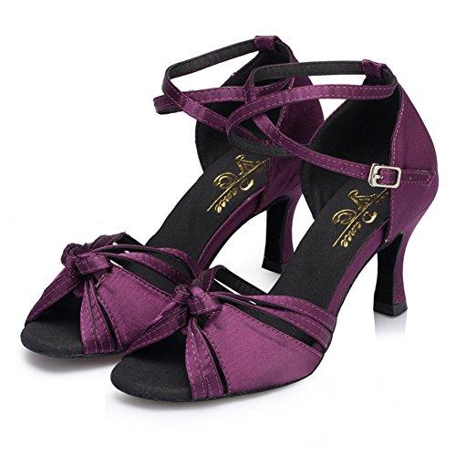 WYMNAME Mujeres Zapatos De Baile Latino,Tacones Mediados Fondo Blando Modernos Zapatos De Baile Zapatos De Baile De Salón Morado
