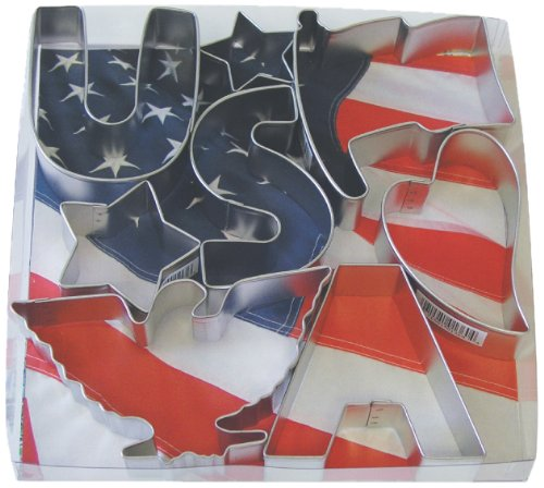 R & M 8 Piece Great Set of Patriotic Theme Cookie Cutters - Assorted Shapes 4.5