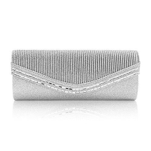 Handbag Wedding Pleated Women Flap Snap Silver Crystal Glitter Damara Y0qEE