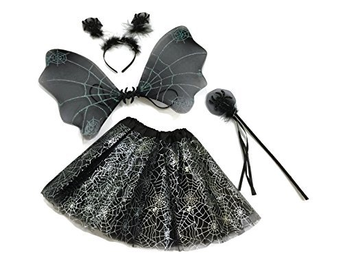 Spider Dance Costume (Rush Dance Halloween Black & Silver Spider Fairy- Wings, Wand, Headband & Tutu)