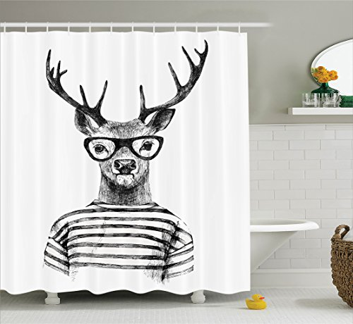Deer Shower Curtain Set Home Decor by Ambesonne, Hipster Style Dressed Up Deer Reindeer Headed Human with Glasses Striped Shirt Design Artsy, Fabric Bathroom Accessories, With Hooks, Black White