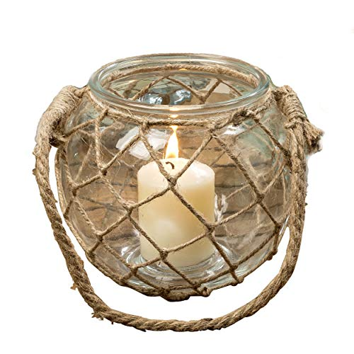 Whole House Worlds The Mariners Lobster Pot Netted Hurricane Candle Lantern, Globe Shape, Clear, Jute, Rope Handles, Glass, 7 Inches Diameter, 6 3/4 Inches Tall