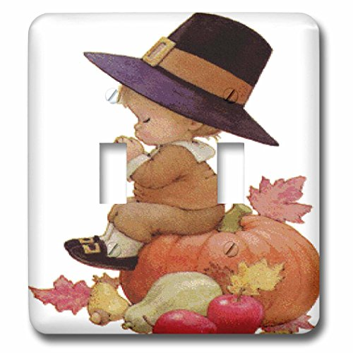 3dRose lsp_36427_2 Vintage Pilgrim Boy On Pumpkin Double Toggle Switch