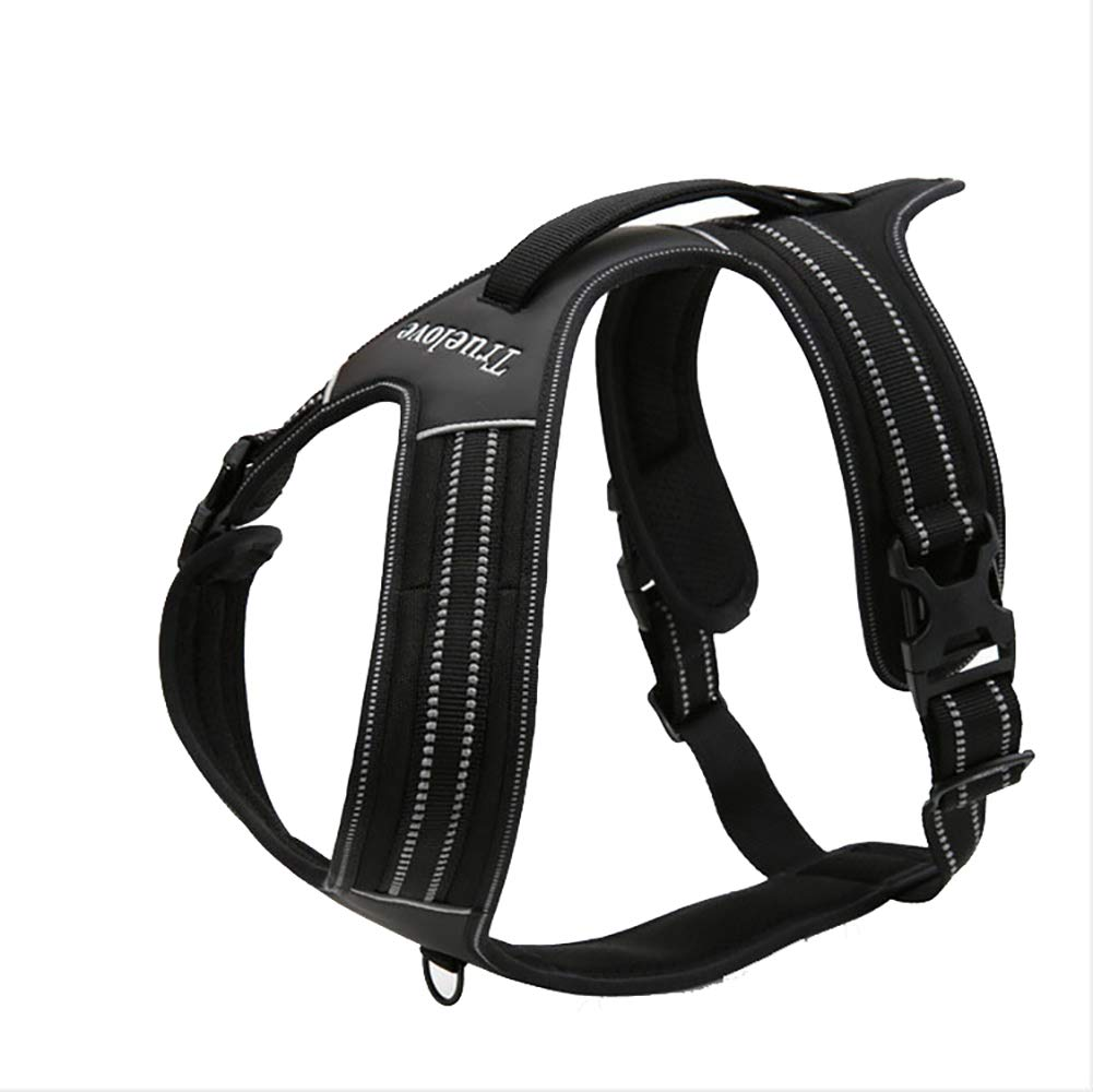 WXMJ Dog Chest Straps Explosion-Proof Rushing Traction pet Chest Straps Outdoor Hyena Reflective Straps pet Supplies-Black-XL