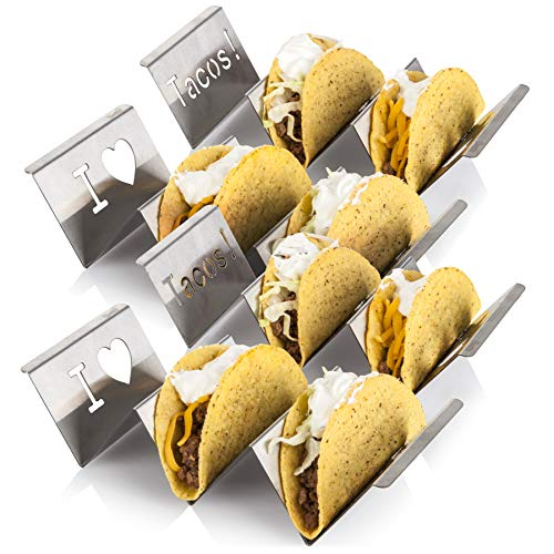 (Stainless Steel Taco Holder Stand: 4 Stamped Solid Metal Tray Holders For Serving Up Soft & Hard Shell Food Truck Style Tacos - Fun Grill, Oven & Dishwasher Safe Taco Trays Great for Kids or Parties)