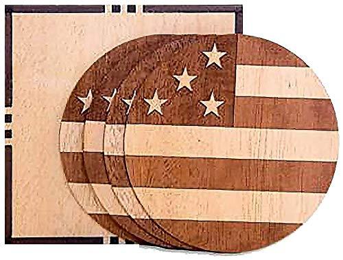 Woodchuck - 木製コースター - 責任をもって調達 - 各セットはユニーク - プレミアム100%本物の木 - 誇りを持って米国製 - 各購入で木を植える資金 ブラウン  American B07FV861KG