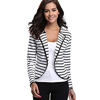 MISS MOLY Women's Notched Lapel Striped Blazer Jacket Long Sleeve Suit Outwear