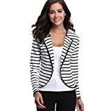MISS MOLY Women's Blazer Notched Lapel Casual Striped Cardigan Jacket Long Sleeve Spring Outwear
