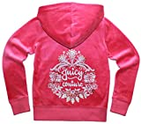 Juicy Couture Girls Glitter Floral Embellished Hoodie (Size 12, Pink)