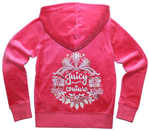 Juicy Couture Girls Glitter Floral Embellished Hoodie (Size 12, Pink) by Juicy Couture