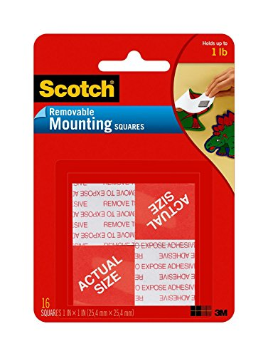 Scotch Removable Mounting Squares, 1-inch x 1-inch, White, 16-Squares (Removable Foam Mounting Squares)