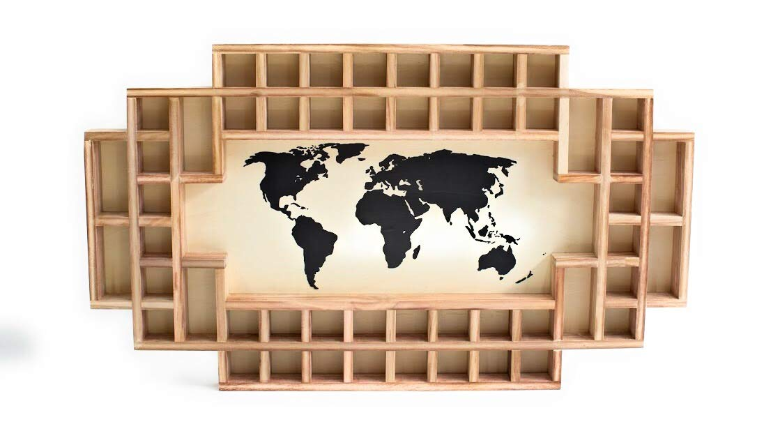 Shot Glass Display Frame - 52 Spaces - Solid Wood Frame - World Map - US Map (Natural, World Map)