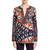 Tory Burch Womens Printed Sheer Tunic Top Navy 0
