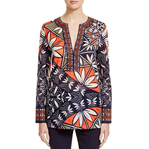 Tory Burch Womens Printed Sheer Tunic Top Navy 0 by Tory Burch