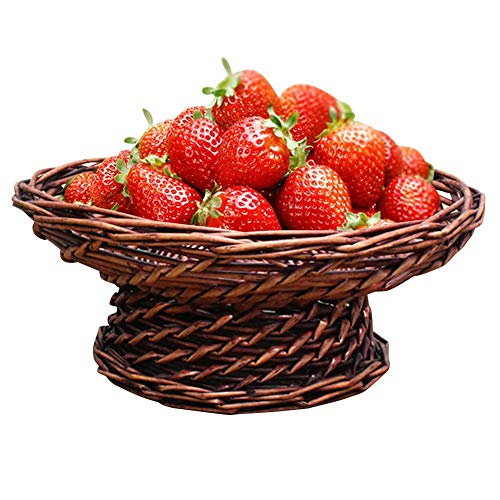 Melo-bell Woven Fruit Bread Tray Food Serving Tray Party Food Server Display Decorative Storage Basket for Home Office Restaurant