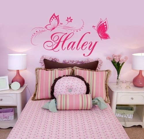 Charming Personalized Name U0026 Butterflies Vinyl Wall Decal Sticker Home  Decor For Girlsu0027 Room  You Choose Name And Color Part 53