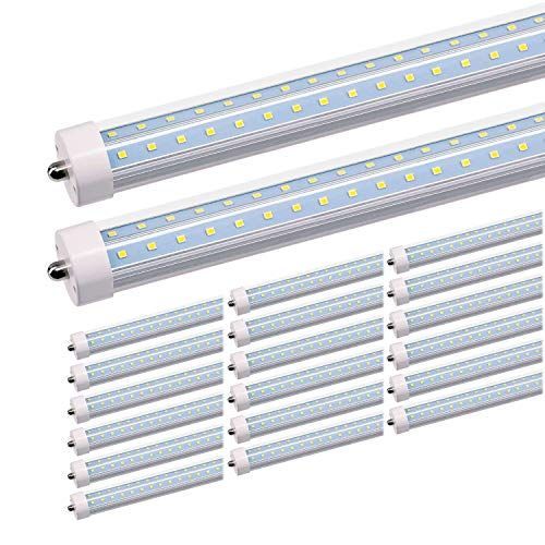 (JESLED T8/T10/T12 8FT LED Tube Light, Single Pin FA8 Base, 50W 6000LM 5000K Daylight White, 270 Degree V Shaped LED Fluorescent Bulb (130W Replacement), Clear Cover, Dual-Ended Power (20-Pack))