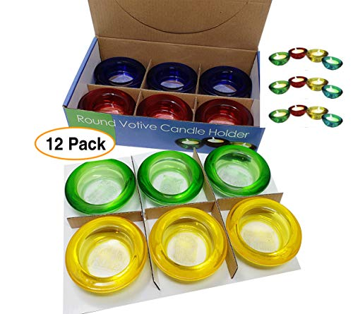 (Am American Company Tealight Candle Holders Thick Glass Votive Colored (12 Pack) )