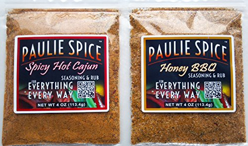Paulie Spice : BBQ Seasoning and Rub Set (2 Flavors) Sweet Honey BBQ & Spicy Hot Cajun For: Steak, Chicken, Meat, Pork, Wings, Beef, Salmon, Prime Rib, Fish, Grill, Grilling, Barbecue, Dry, Rubs, Gift