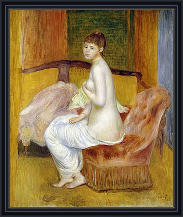 "Renoir (Seated Nude, Resting, 1885) Canvas Art Print Reproduction Framed with 2.6"" wide Black Frame and Gold Edge (20.1x16.7 in) (51x42 cm)"