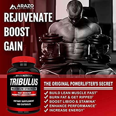 Tribulus Terrestris Extract Powder - Testosterone Booster with Estrogen Blocker - 45% Steroidal Saponins 1500mg - Arazo Nutrition USA - 180 Capsules