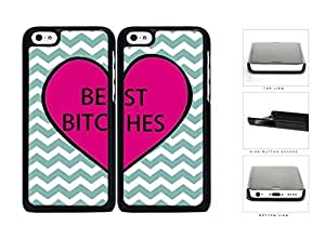 MMZ DIY PHONE CASECute Best Friend Heart Teal Chevron Hard Plastic Snap On Cell Phone Case Apple iphone 5c