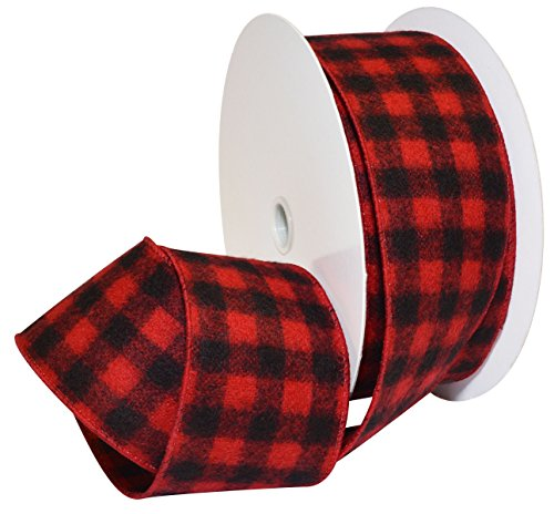 (Morex Ribbon Red/Black Wired Flannel Buffalo Plaid Ribbon, 2.5 inches by 100 Feet)
