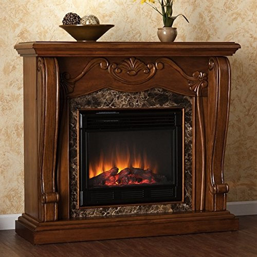 faux marble electric fireplace - 9