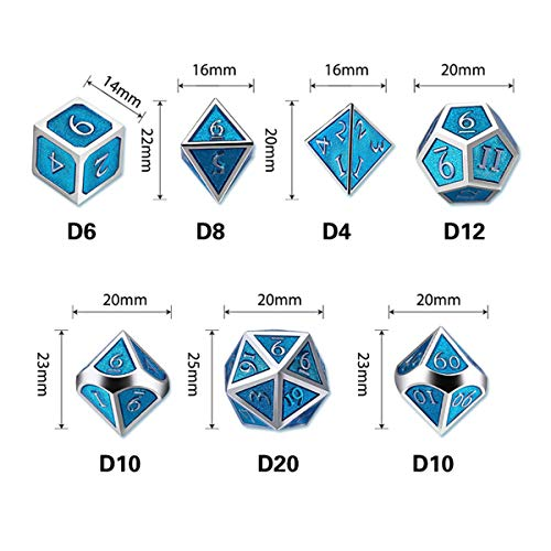 UONUOT 7pcs DND Metal Dice Set with Black Pouches D&D Tabletop Games Embossed Heavy Polyhedral Metal Dice for Dungeons and Dragons Role Playing Games RPGs/DND/Set,Math Teaching(Silver Blue)