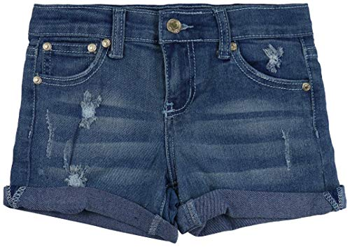 ToBeInStyle Girl's Denim Mini Shorts - Patchy Distressed Front - 14