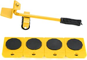 Furniture Transport Tools ALLOMN Durable Furniture Lifter Shifter Set with 4 Corner Remover Rollers and 1 Wheeled Bar Furniture Movers Lifter (Yellow)