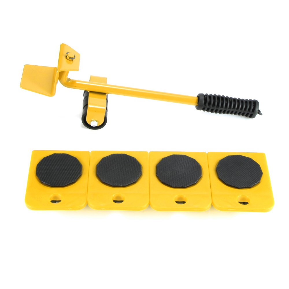 Furniture Transport Tools ALLOMN Durable Furniture Shifter Lifter Set with 4 Corner Remover Rollers and 1 Wheeled Bar Furniture Movers Lifter (Yellow)