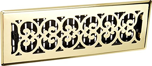 (Decor Grates SPH414 4-Inch by 14-Inch Scroll Floor Register, Polished Brass Finish)