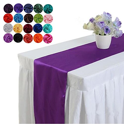 LOVWY Pack Of 1 Satin Table Runner 12 x 108 Inch For Wedding Party Engagement Event Birthday Graduation Banquet Decoration (Colors Optional) (Purple)