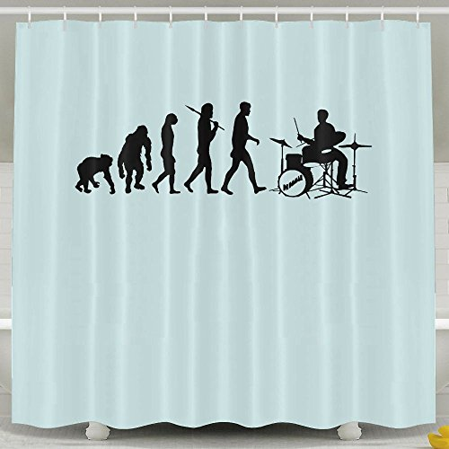 Xiaobaby Drum Set Drummers Funny Drumming Music Evolution Non Toxic Shower Curtain 6072Inch