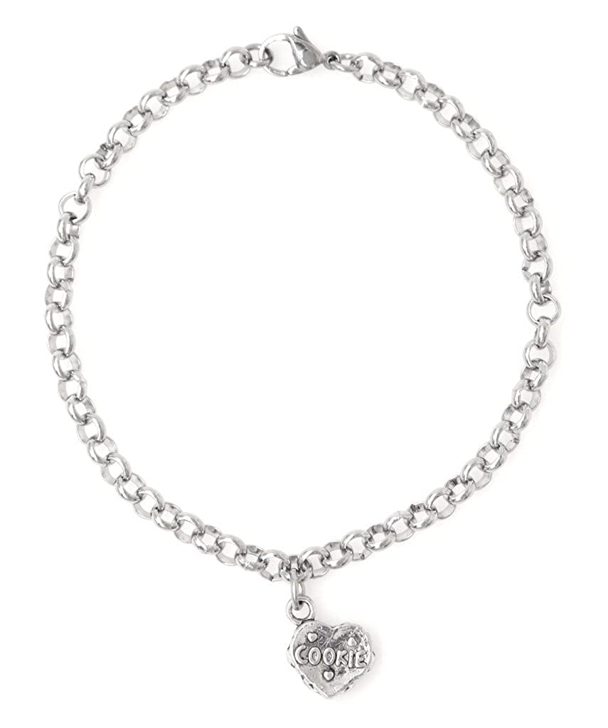 """Adjustable 8.5/"""" Stainless Steel Bracelet with Alloy Cookie 67D Cookie Its All About...You Personalize with Clip on Charms"""