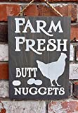 IvyDalton Farm Fresh Butt Nuggets Wood Sign Funny Chicken Eggs Country Decor Rustic Kitchen Gift Country Home Decor