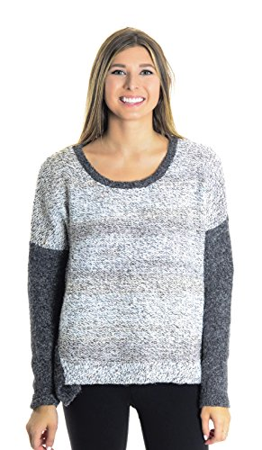 French Connection Women's Colorblock Wool Blend Sweater, Charcoal Gray/White, x-Small