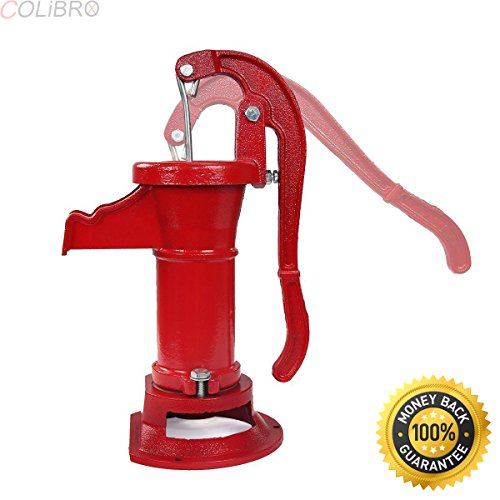 COLIBROX--New Antique Style Heavy Duty Cast Iron Red Well Hand Operated Pitcher Pump 25 Ft. Garden pitcher pump is ideal for backyards, campsites, farms & picnic area.