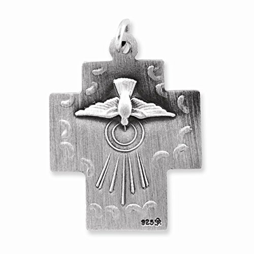 Sterling Silver Antiqued Alpha Omega Cross Pendant ()