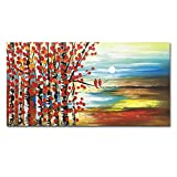 Konda Art - Hand Painted Landscape Wall Art Forest Tree Oil Painting On Canvas Modern Abstract Artwork for living room
