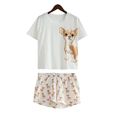 Women Pajamas Kawaii Funny Dog Print Sleepwear Set Loose Tops Elastic Waist  at Amazon Women s Clothing store  16353c108