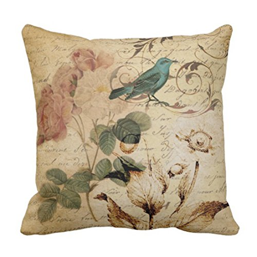 Emvency Throw Pillow Cover Victorian Bird Paris French Botanical Rose Decorative Pillow Case Floral Home Decor Square 18x18 Inch Cushion Pillowcase