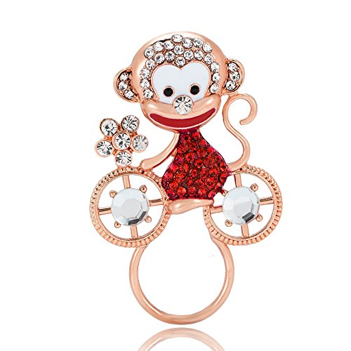 Brooch Bike Pin (PANGRUI Exquisite Cute Smiling Monkey on a Bike Eyeglass Holder Brooch Pin with Crystal Rhinestones (Rose Gold))