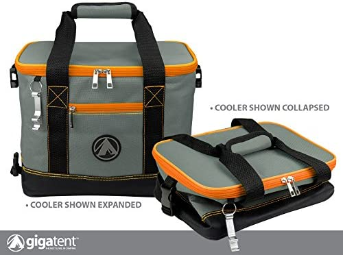 GigaTent Insulated Collapsible Cooler Soft Lunch Box with Bottle Opener for Camping, Beach and Travel Lightweight and Tear Resistant Fabric Small – 12 W, 9 H, 8 D, Orange
