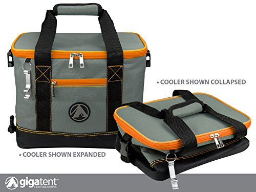 - GigaTent Insulated Collapsible Cooler - Soft Lunch Box with Bottle Opener for Camping, Beach and Travel - Lightweight and Tear Resistant Fabric (Small - 12