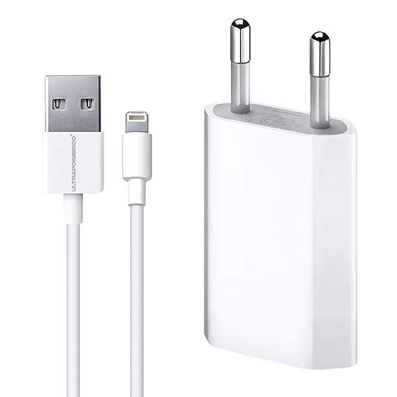 ultrapower100® Cargador de batería compatible con iPhone 1A 5 W 1400 + Cable 100% 1 metro blanco compatible iPhone 5 5 C 5S 6 SE 6S 7 8 X XR XS XS MAX